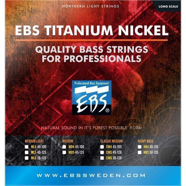 Струны для бас-гитары EBS TN-MD Titanium Nickel Strings Medium 4-strings