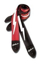 Ремень для гитары GIBSON LIGHTNING BOLT STYLE 2 SAFETY STRAP - FERRARI RED (ASGSBL-20)