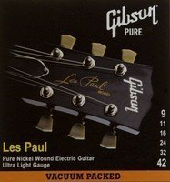 Струны для электрогитары GIBSON LES PAUL PURE NICKEL WOUND .009-.042 (SEG-LP9)