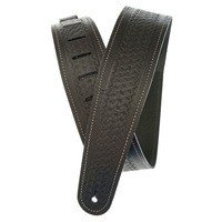 Ремень гитарный Planet WAVES PW25WSTB00 Basket Weave Embossed Leather Guitar Strap, Black